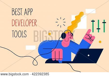 Best App Developer Tools Concept. Positive Young Woman Cartoon Character Programmer Sitting At Lapto