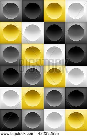 Pattern Background Square Block, 3d Circle, Yellow White Gray Black Gradient. Color Trend Of 2021. A