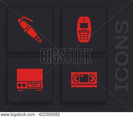 Set Vhs Video Cassette Tape, Fountain Pen Nib, Old Mobile Phone And Player Icon. Vector