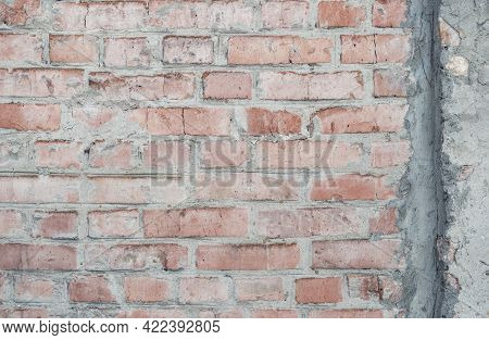 Weathered Red Brick Wall For Texture Or Background, Rough Aged Brickwork, Masonry With Remnants Peel