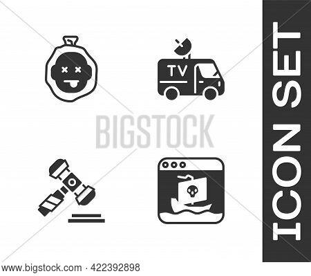 Set Internet Piracy, Murder, Judge Gavel And Tv News Car Icon. Vector