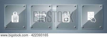 Set Braille, Press The Sos Button, Stretcher And Intercom. Square Glass Panels. Vector