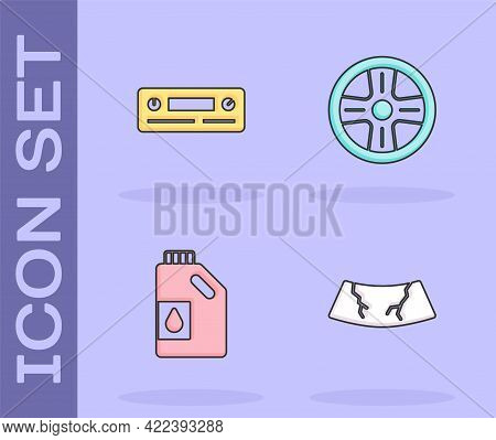 Set Broken Windshield, Car Audio, Canister For Motor Oil And Alloy Wheel Icon. Vector