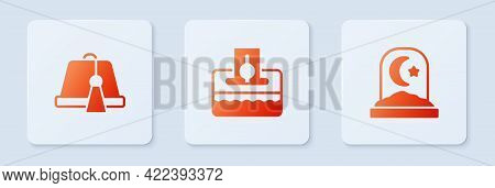 Set Donate Or Pay Your Zakat, Turkish Hat And Muslim Cemetery. White Square Button. Vector