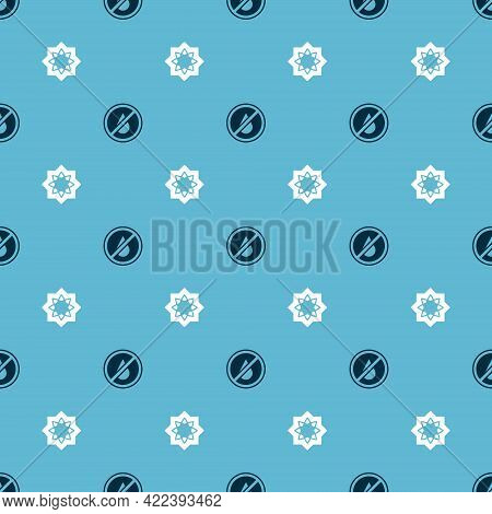 Set No Water And Octagonal Star On Seamless Pattern. Vector