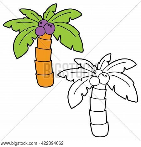 Vector Illustration Coloring Page With Cartoon Palm Tree For Children, Coloring And Scrap Book, Prin