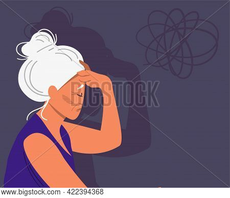 Eldery Gray-haired Woman With Dementia And Bewildered Thoughts In Her Mind. Concept Of Memory Loss A