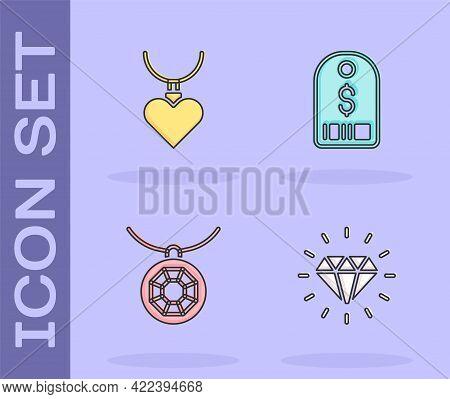 Set Diamond, Necklace With Heart Shaped Pendant, Pendant Necklace And Price Tag Dollar Icon. Vector