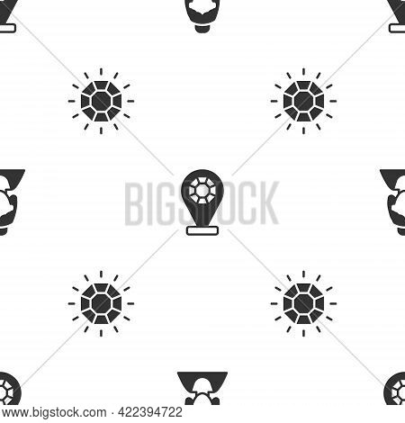Set Consultant Of Jewelry Store, Jewelry And Diamond On Seamless Pattern. Vector