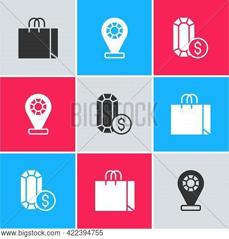 Set Shopping Bag Jewelry, Jewelry Store And Online Shopping Icon. Vector