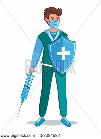 Medic Worker, Vaccination Sign. Doctor Holding Injection Syringe With Dose Vaccine, Medical Protecti