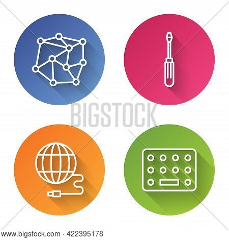 Set Line Neural Network, Screwdriver, Social Network And Pills In Blister Pack. Color Circle Button.