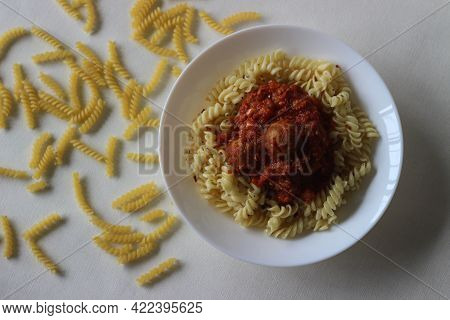 Air Fried Meat Balls In Tomato Sauce Pasta. Home Made.