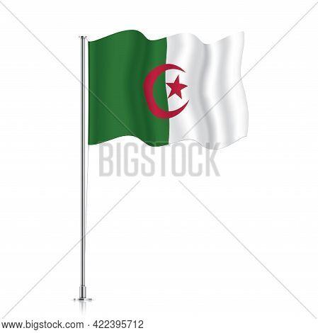Algeria Flag Waving On A Metallic Pole.