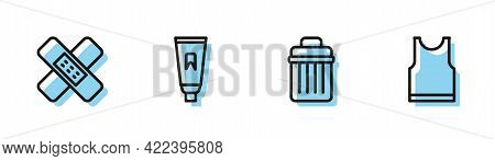 Set Line Trash Can, Crossed Bandage Plaster, Tube Of Toothpaste And Sleeveless T-shirt Icon. Vector