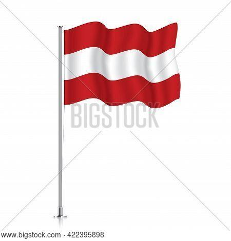 Austria Flag Waving On A Metallic Pole.