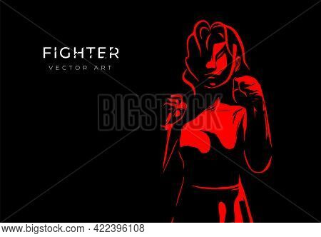 Vector Illustration Of A Female Boxer. Concept Of Female Boxing. Modern Poster Or Banner.