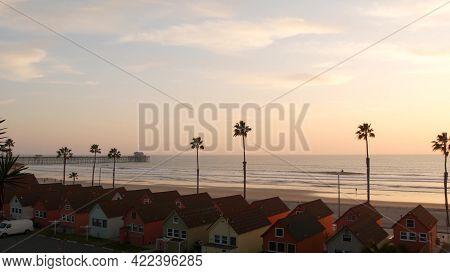 Palms Silhouette Sunset Sky, California Aesthetic. Oceanside Usa. Tropical Pacific Ocean Beach Pier