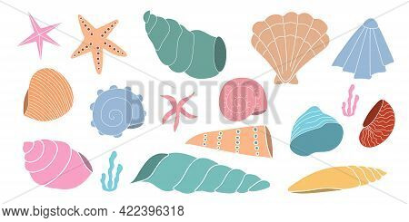 Set Of Bright Varied Seashells On An Isolated Background. Flat Vector Illustration. Background.
