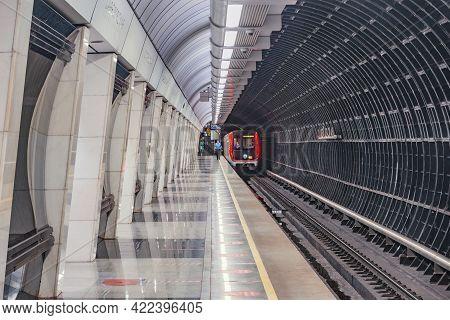 Moscow, Russia - May 30, 2021: Interior Of Savyolovskaya Metro Station.