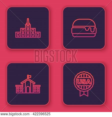 Set Line City Landscape, United States Capitol Congress, Burger And Medal With Star. Blue Square But