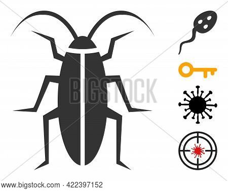 Cockroach Icon With Flat Style. Isolated Vector Cockroach Icon Illustrations On A White Background,