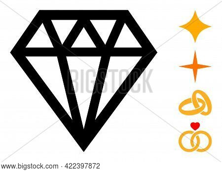Brilliant Icon Designed In Flat Style. Isolated Vector Brilliant Icon Illustrations On A White Backg