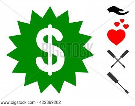 Dollar Rosette Icon With Flat Style. Isolated Vector Dollar Rosette Icon Illustrations On A White Ba
