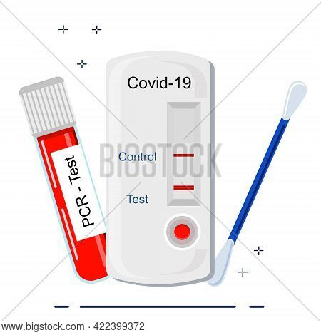 Coronavirus Rapid Antigen And Pcr Tests.tube With Blood Sample And Cotton Swab With Saliva. Self-dia