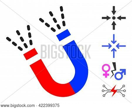 Magnet Force Icon Designed In Flat Style. Isolated Vector Magnet Force Icon Image On A White Backgro
