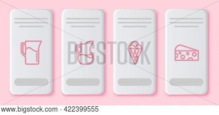 Set Line Milk Jug Or Pitcher, , Ice Cream In Waffle Cone And Cheese. White Rectangle Button. Vector