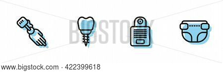 Set Line Intercom, Prosthesis Hand, Dental Implant And Adult Diaper Icon. Vector
