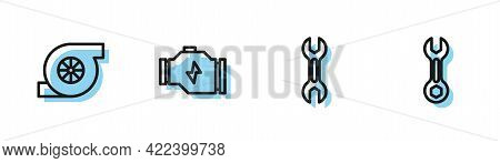 Set Line Wrench Spanner, Automotive Turbocharger, Check Engine And Icon. Vector