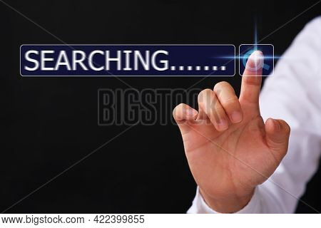 Businessman Searching Browsing Internet Data Information Virtual Screening Concept, Man Hand Using C