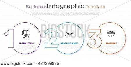 Set Line Holy Book Of Koran, Ramadan Cannon And Date Fruit In Bowl. Business Infographic Template. V