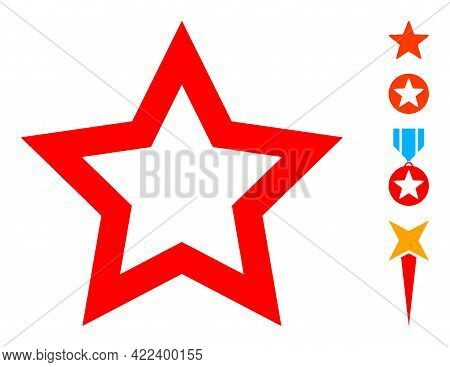 Contour Star Icon With Flat Style. Isolated Vector Contour Star Icon Image On A White Background, Si
