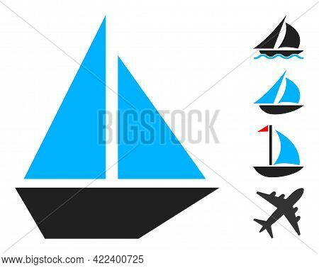 Yacht Icon With Flat Style. Isolated Vector Yacht Icon Illustrations On A White Background, Simple S