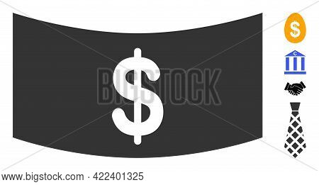 Dollar Banknote Icon With Flat Style. Isolated Vector Dollar Banknote Icon Illustrations On A White