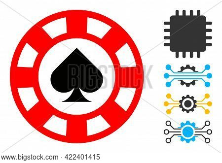 Spades Casino Chip Icon With Flat Style. Isolated Vector Spades Casino Chip Icon Image On A White Ba