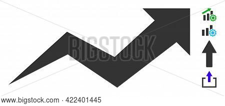 Growing Arrow Chart Icon With Flat Style. Isolated Vector Growing Arrow Chart Icon Image On A White