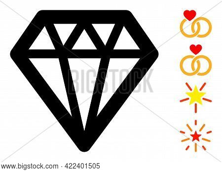Diamond Icon Designed In Flat Style. Isolated Vector Diamond Icon Image On A White Background, Simpl