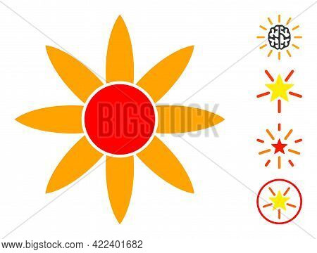 Sun Shine Icon Designed In Flat Style. Isolated Vector Sun Shine Icon Illustrations On A White Backg