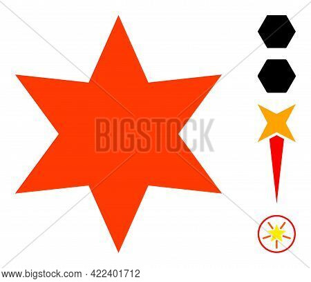 Six Pointed Star Icon Designed In Flat Style. Isolated Vector Six Pointed Star Icon Illustrations On