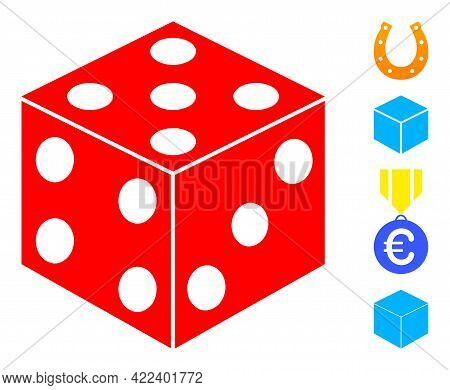 Dice Cube Icon Designed In Flat Style. Isolated Vector Dice Cube Icon Image On A White Background, S