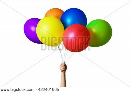 Female Hand Holding Bunch Of Bright Colorful Balloons Isolated On White Background. Six Multicolored