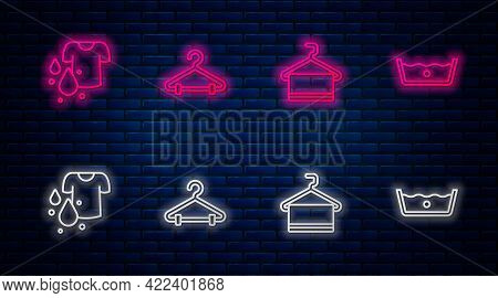 Set Line Hanger Wardrobe, Towel On Hanger, Dirty T-shirt And Temperature Wash. Glowing Neon Icon On