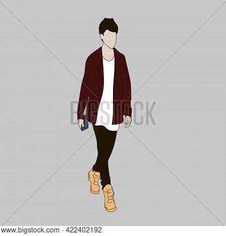 Vector Illustration Of Kpop Street Fashion. Street Idols Of Koreans. Kpop Men's Fashion Idol. The Gu