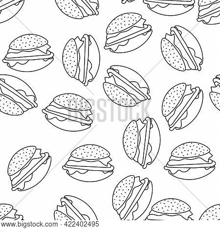 Seamless Background With Cheeseburger Or Hamburger. Fast Food. Vector Background Wrapping Paper, Men