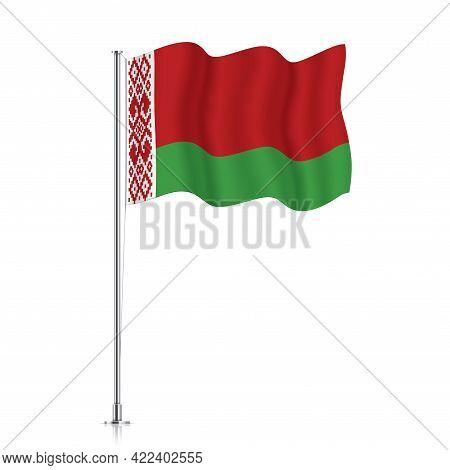 Belarus Flag Waving On A Metallic Pole.