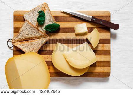 Cheese Edam Piece Slice Old Amsterdam Dutch Holland Goat Top View